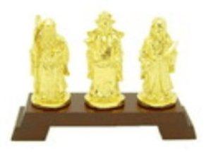 4-Inch Golden Pewter Fuk Luk Sau