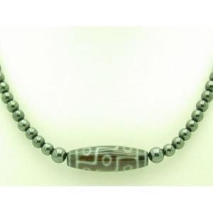 9-Eye Dzi with 6mm Hematite Crystal Necklace1
