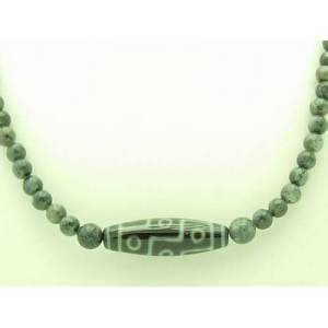 9-Eye Dzi with 6mm Labradorite Crystal Necklace1