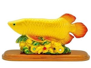 Arowana Fish with Gold Ingots and Coins