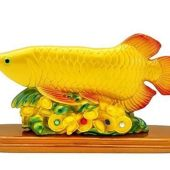 Arowana Fish with Gold Ingots and Coins