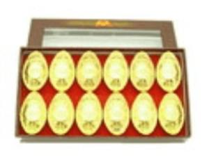 Auspicious Coins Embossed Gold Ingots (L) (Set Of 12)