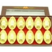 Auspicious Coins Embossed Gold Ingots (L) (Set Of 12)