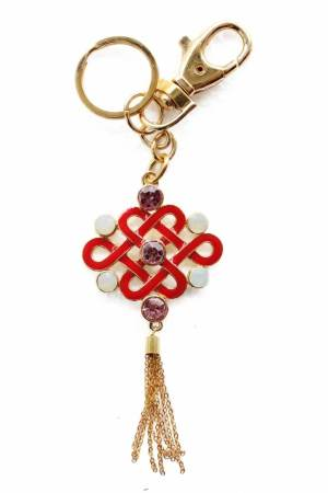 Bejeweled Feng Shui Mystic Knot Golden Key Chain