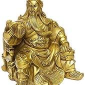 Brass Color Sitting Kwan Yu of Wisdom Reading Book