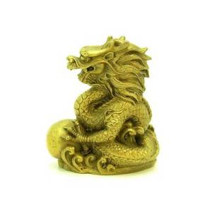 Brass Feng Shui Dragon Grasping a Pearl1