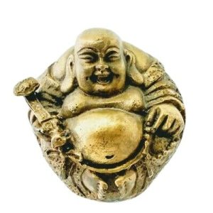 Brass Happy Buddha Holding Ruyi and Beads
