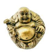 Brass Happy Buddha Holding Ruyi and Beads
