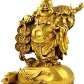 Brass Laughing Buddha on a Big Sack of Wealth