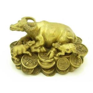 Brass Ox Family On Treasure For Prosperity1