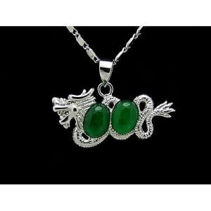 Dragon with Double Jade Pendant Necklace1