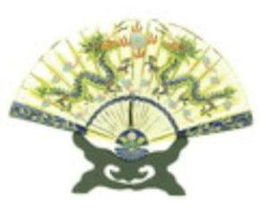 Enamel Cloisonne Fan with Double Celestial Dragon