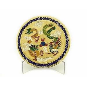 Feng Shui Dragon and Phoenix Enamel Cloisonne Plate1