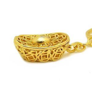 Golden Chinese Coins Yuan Bao Ingot Key Chain1