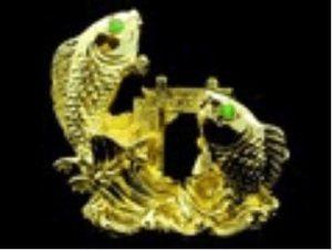 Golden Double Dragon Carps Crossing Dragon Gate