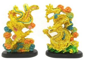 Golden Feng Shui Dragon and Phoenix