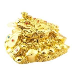 Golden Feng Shui Money Frog on Gold Coins Treasure