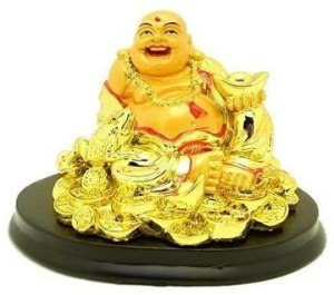 Golden Good Fortune Laughing Buddha with Money Frog