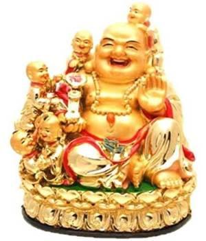Golden Laughing Buddha wth Five Children