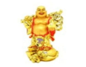 Golden Travelling Laughing Buddha for Good Fortune