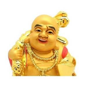 Golden Travelling Laughing Buddha for Good Wealth1