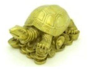 Good Fortune Tortoise on Gold Coins & Ingots (L)