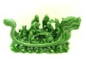 Jadeite Feng Shui Eight Immortals on Dragon Boat