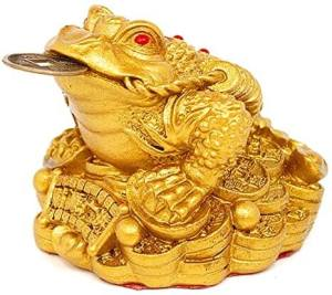 Large Brass Money Frog on Treasure