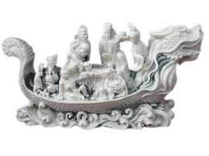 Marble Eight Immortals on Dragon Boat