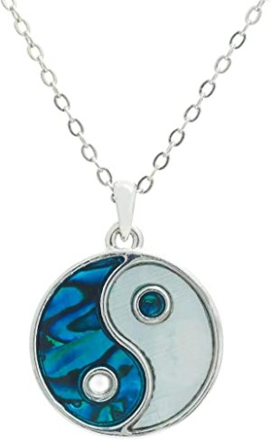 Paua Shell Yin Yang Pendant for Protection Necklace