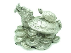 Pewter Dragon Tortoise on a Bed of Fortune1