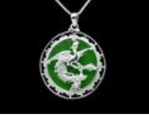 Phoenix Pendant with Round Green Jade Feng Shui Jewelry