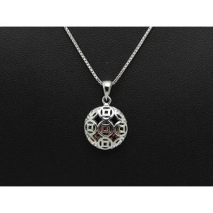 Silver Prosperity Coins Ball Pendant Necklace1