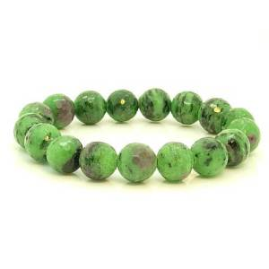 Zoisite Crystal Faceted Round Bracelet 12mm1