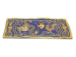 10Crt Gold Thread Silk Embroidered Dragon & Phoenix Mat1