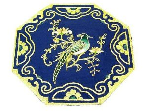 10Crt Gold Thread Silk Embroidered Magpie With Chrysanthemum1