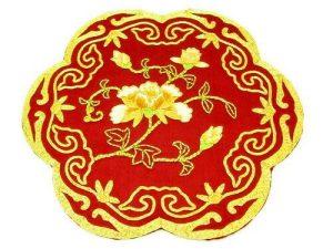 10Crt Gold Thread Silk Embroidered Peony Mat1