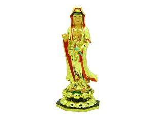 11 Inch Golden Standing Kuan Yin1