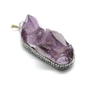 Amethyst Geode Bejeweled Pendant C1