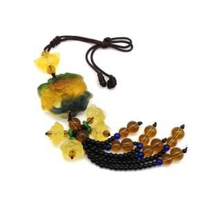 Colorful Liu Li Piyao with Lotuses Beaded Tassel1
