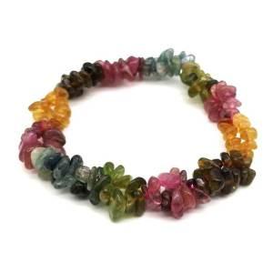 Colorful Tourmaline Chips Bracelet 电气石1