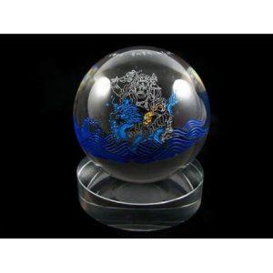 Crystal Ball with White Dzambala Tibetan Wealth God1