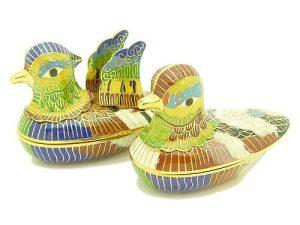 Enamel Mandarin Ducks For Marital Bliss Jewel Box (L)1