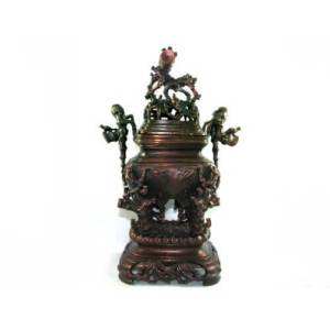 Exquisite Brass Incense Burner with Bamboo Tree Motif1