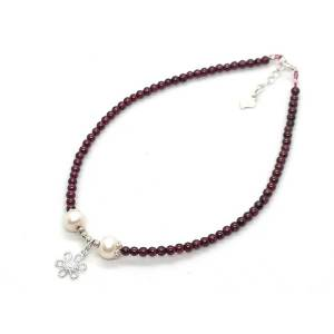 Garnet with Pearls Anklet 石榴石1