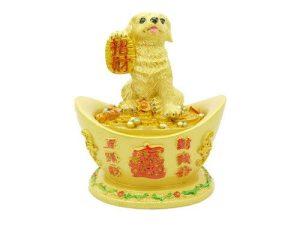 Good Fortune Dog on Giant Gold Ingot1