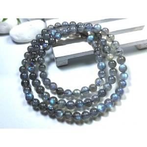 Labradorite Natural Crystal 3-Round Bracelet 7mm1