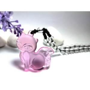 Liuli Glass Fox Pendant Crystal Necklace1