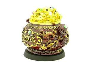 Overflowing Wealth Pot With Eight Auspicious Objects