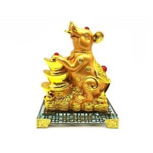Prosperity Golden Rat with Stack of Gold Ingots - CNY Décor 20201